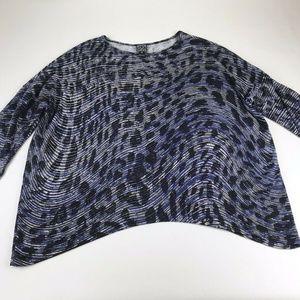 Clara SunWoo Blue Black Knit 3/4 Sleeve Tunic Top